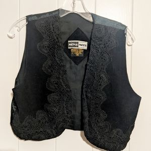 Vintage Tops - VTG Cropped leather and lace best FESTIVAL Sz S